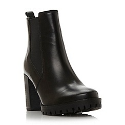 Dune - Black 'Pellie' block heel leather chelsea boot