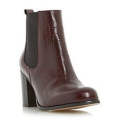 Dune - Maroon 'Prynn' block heel chelsea boot