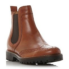 Dune - Tan 'Portmann' leather brogue chelsea boot