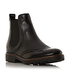 Dune - Black 'Portmann' leather brogue chelsea boot