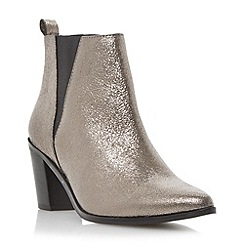 Dune - Silver 'Preslee' pointed toe v-cut  leather chelsea boot