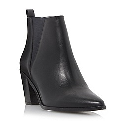 Dune - Black 'Preslee' pointed toe v-cut  leather chelsea boot