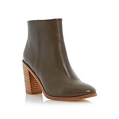 Dune - Green stacked heel leather ankle boot