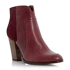 Dune - Red mixed leather stack heel ankle boot
