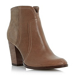 Dune - Brown mixed leather stack heel ankle boot