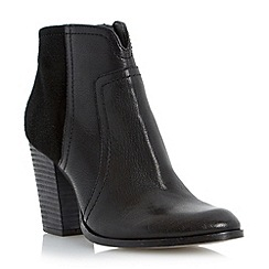 Dune - Black mixed leather stack heel ankle boot