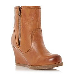 Dune - Tan shearling lined leather wedge boot