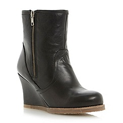 Dune - Black shearling lined leather wedge boot