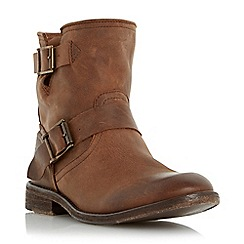 Dune - Tan 'Peddley' casual washed leather ankle boot
