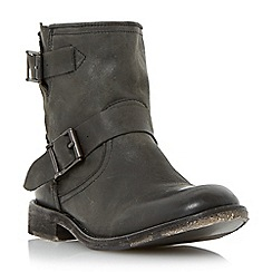 Dune - Black 'Peddley' casual washed leather ankle boot