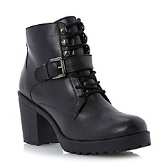 Dune - Black lace up cleated sole heeled leather ankle boot