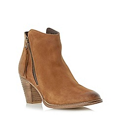 Dune - Tan western style heeled leather ankle boot