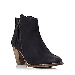 Dune - Blue western style heeled leather ankle boot