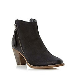 Dune - Black western style heeled leather ankle boot