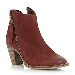Dune - Red western style heeled leather ankle boot