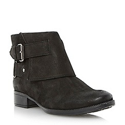 Dune - Black faux fur lined flat ankle boot