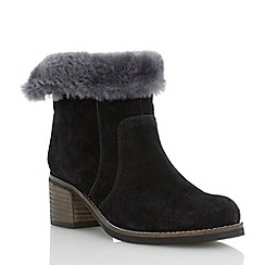 Dune - Black suede faux fur ankle boot