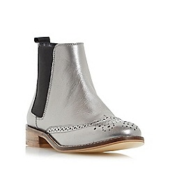 Dune - Silver 'Quentin' leather brogue chelsea boot