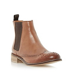 Dune - Brown leather brogue chelsea boot