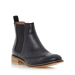 Dune - Black leather brogue chelsea boot