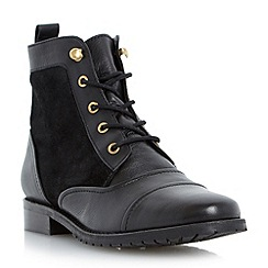 Dune - Black flat leather lace up boot