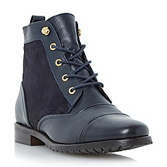 Dune - Blue flat leather lace up boot
