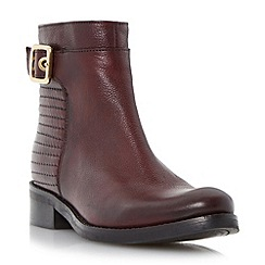 Dune - Maroon 'Padston' stitch detail buckled ankle boot