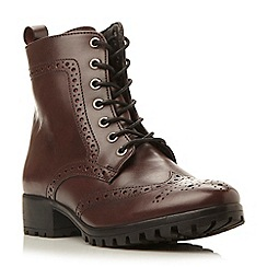 Dune - Maroon 'Persia' brogue leather ankle boot