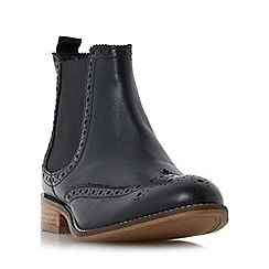 Dune - Black 'W quenton' wide fit brogue chelsea boot