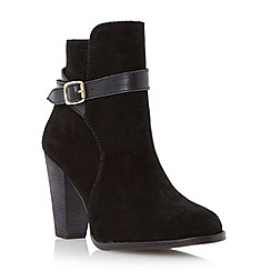 Dune - Black suede stacked heel buckle boot