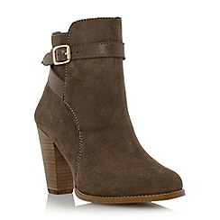 Dune - Taupe suede stacked heel buckle boot