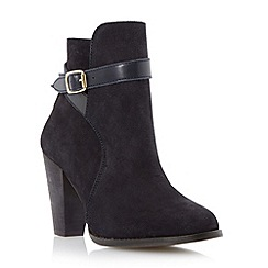 Dune - Navy stacked heel buckle boot