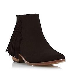 Dune - Black-suede 'Preda' suede fringe detail ankle boot