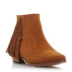 Dune - Brown suede fringe detail ankle boot