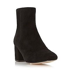 Dune - Black 'Pebble' block heel suede ankle boot