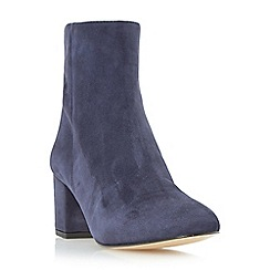 Dune - Navy 'Pebble' block heel suede ankle boot