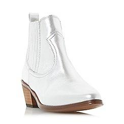Dune - Silver 'Quin' western block heel ankle boot