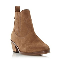 Dune - Taupe 'Quin' western block heel ankle boot