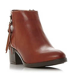Dune - Tan 'Pipinn' double zip detail leather ankle boot