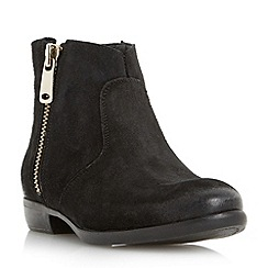 Dune - Black 'Popple' side zip suede ankle boot