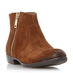 Dune - Tan 'Popple' side zip suede ankle boot