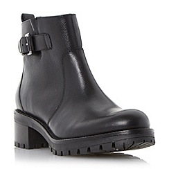 Dune - Black 'Pyper' cleated sole leather ankle buckle boot