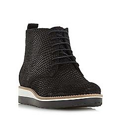 Dune - Black 'Padmore' flatform lace up boot