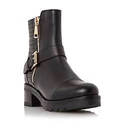Dune - Black 'Poloma' shark sole quilted leather biker boot