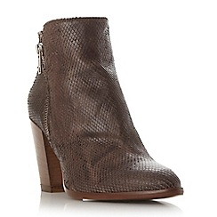 Dune - Taupe 'Pia' reptile effect leather ankle boot
