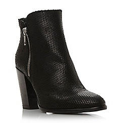 Dune - Black 'Pia' reptile effect leather ankle boot