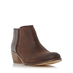 Dune - Brown 'Penelope' mixed material low heel ankle boot