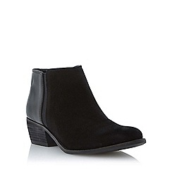 Dune - Black mix suede and leather low heel ankle boot