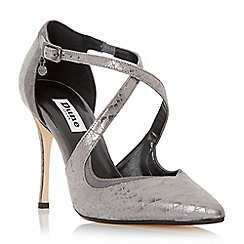 Dune - Metallic pointed toe cross strap court shoe