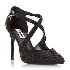 Dune - Black 'Darcey' pointed toe cross strap court shoe
